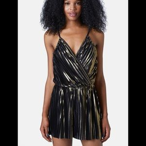 Topshop pleated foil romper